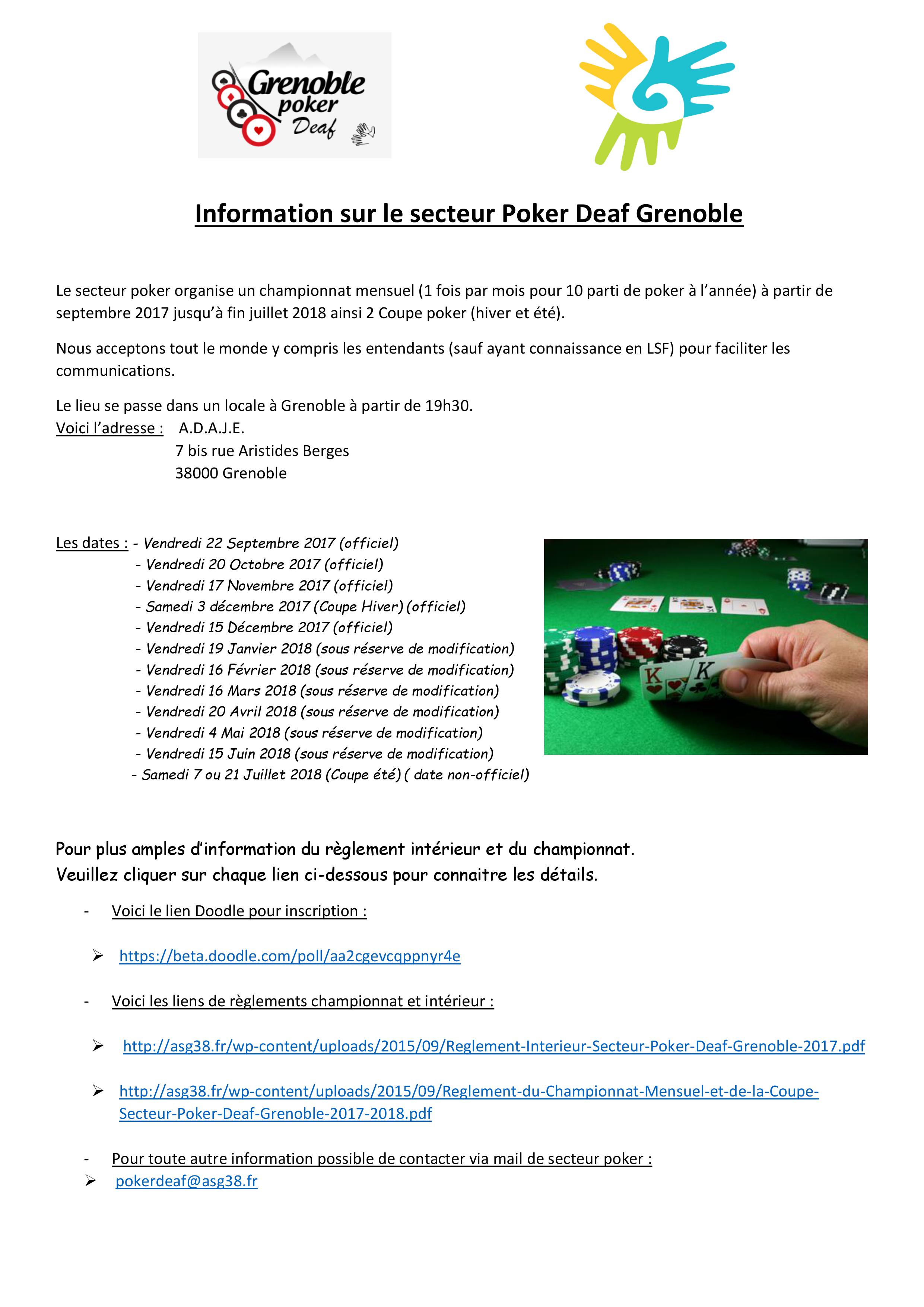 Information sur le secteur Poker Deaf Grenoble