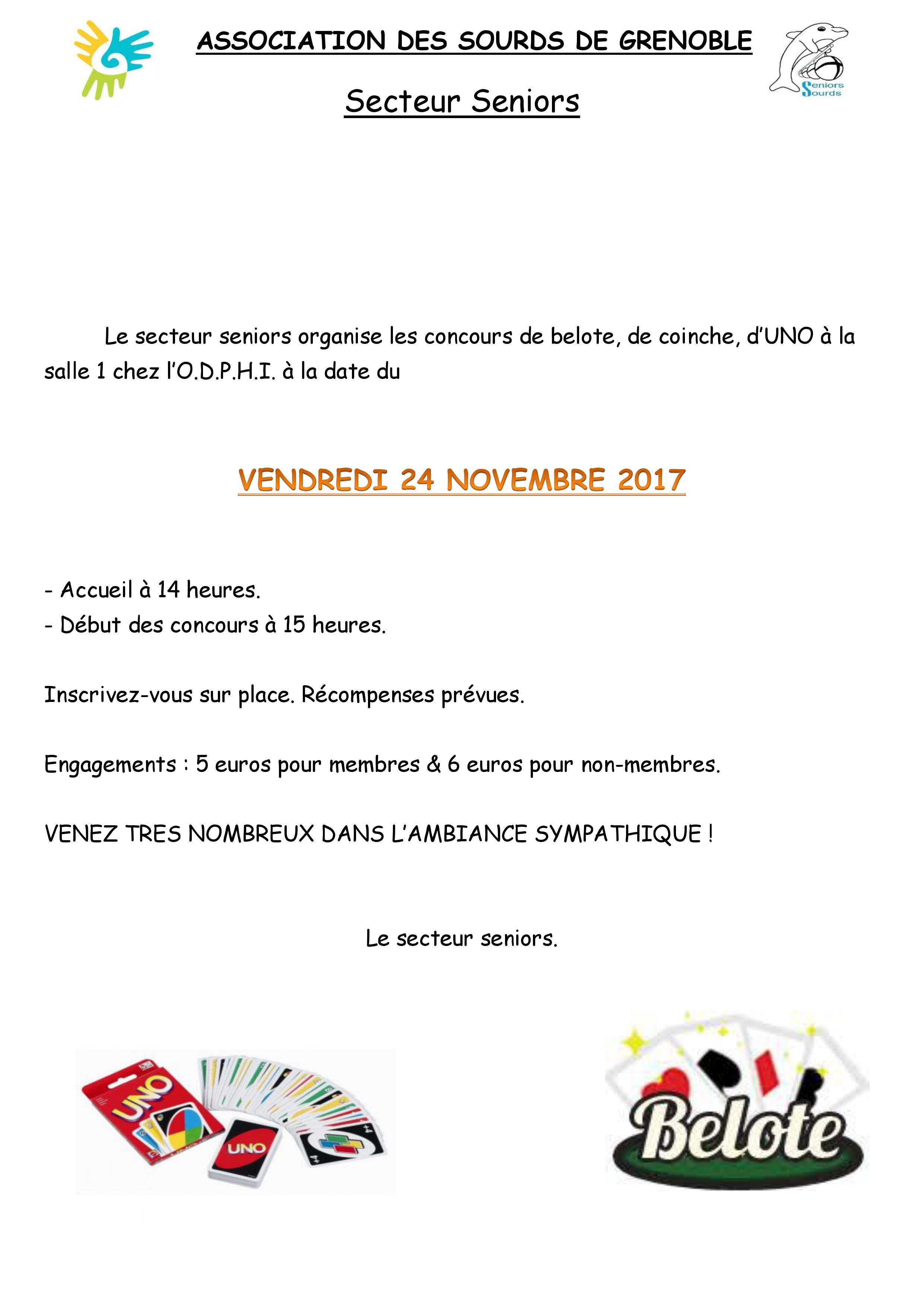 programme seniors du 24 novembre 2017