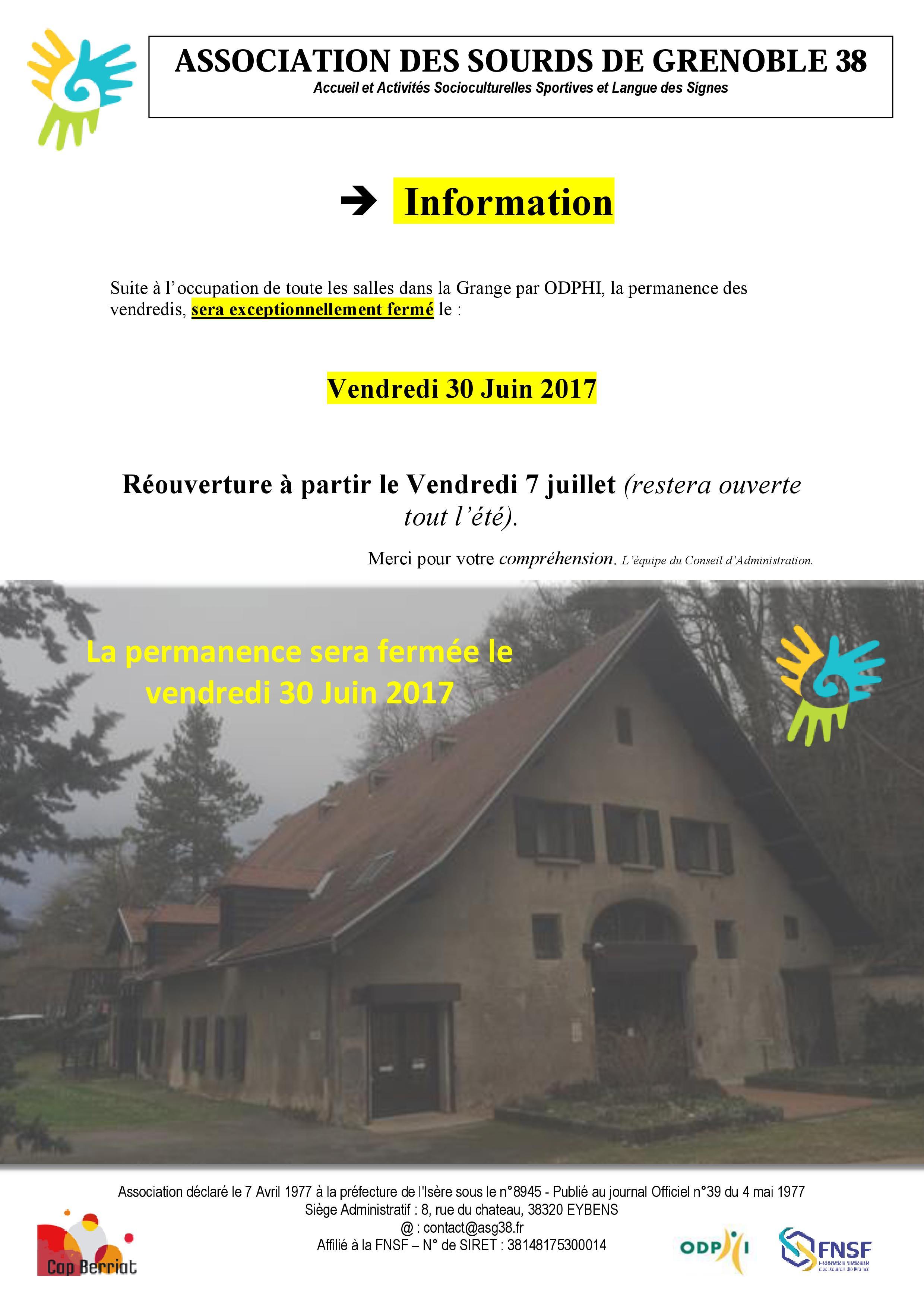 info grange permanance ODPHI du 30 JUIN
