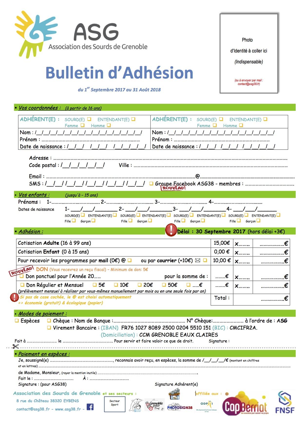 Bulletin Adhesion ASG38 2017-2018