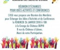Réunion d'Echanges pour idée Activités et conférences. Vendredi 26 Janvier