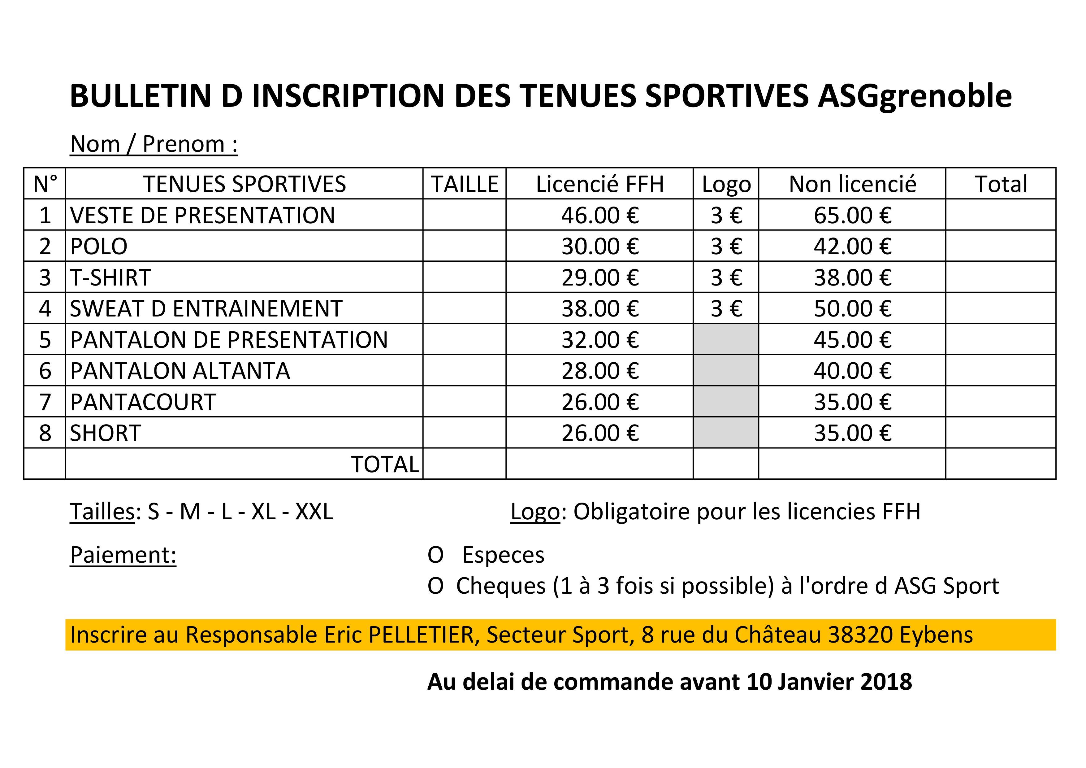 Bulletin d inscription TENUES SPORTIVES ASG
