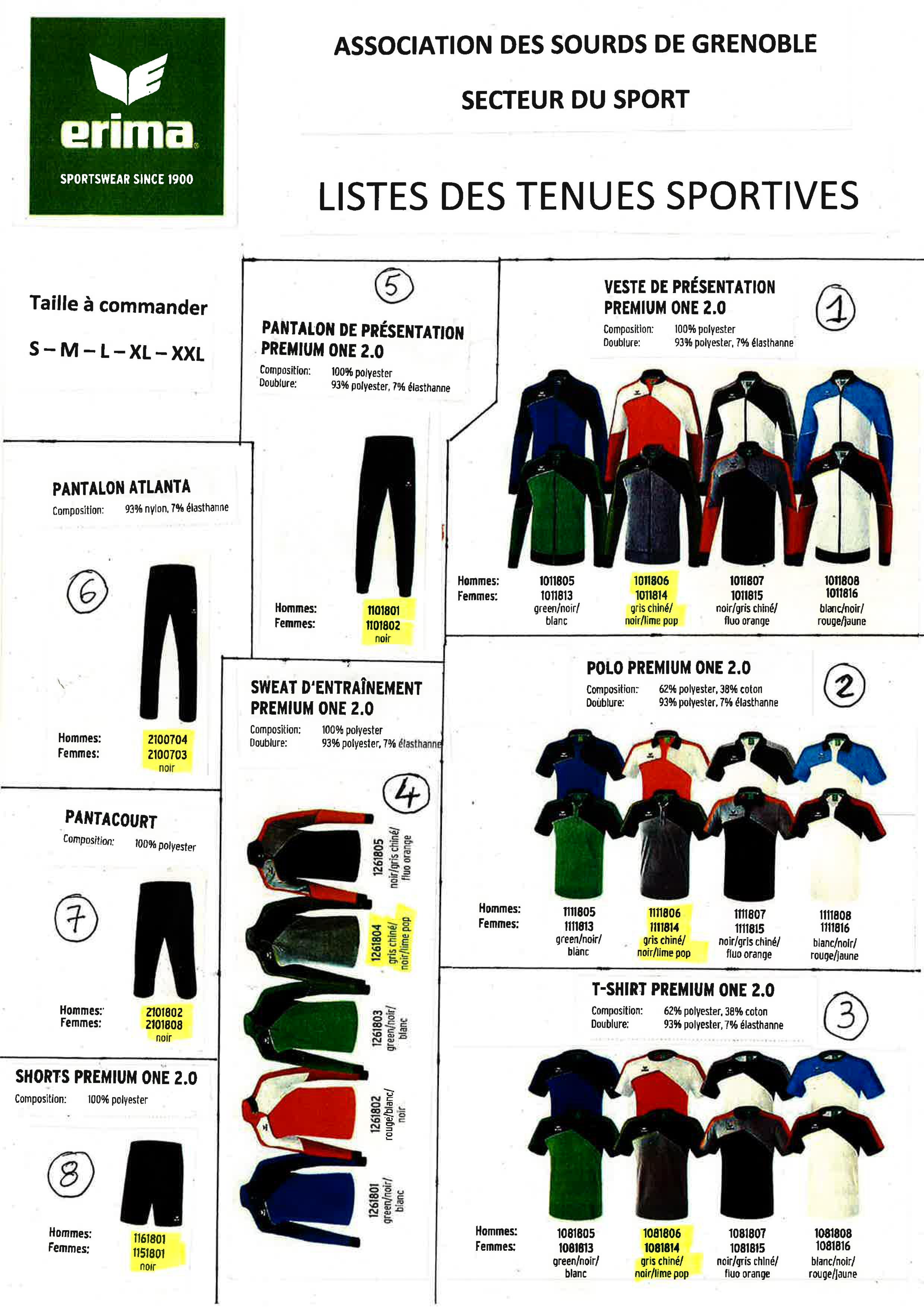 Listes des tenues Sportives ASG Sport