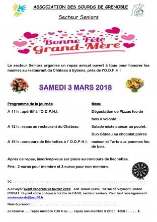 fête de Grand-Mère le Samedi 3 Mars