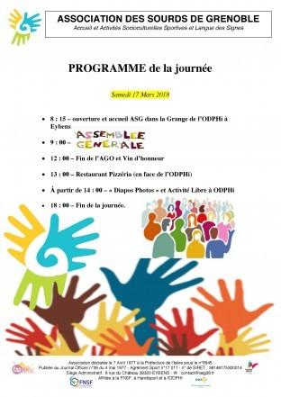 Programme Assemblée Générale le Samedi 17 Mars