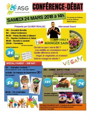 Conférence-Débat le samedi 24 Mars (Thèmes VEGAN)