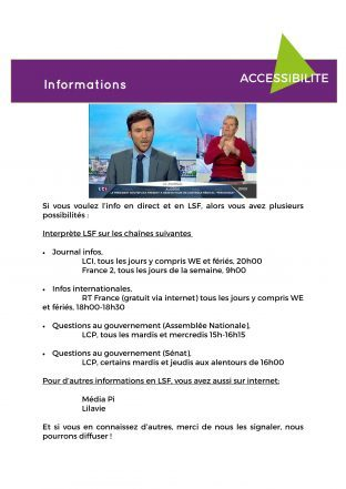 Info  ADIS sur Interprète LSF sur les chaines et changement de carte invalidité