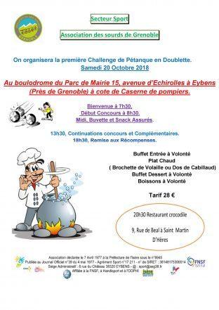 Challenge de pétanque Doublette le 20 Octobre (secteur Sport)