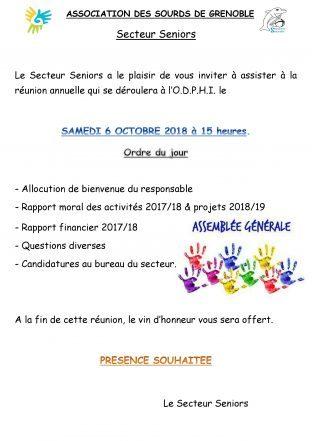 Assemblée Générales de Secteur Séniors le 6 Octobre