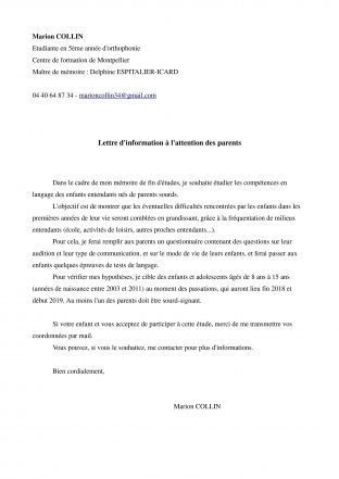 lettres au parent ( information d'une étudiante)