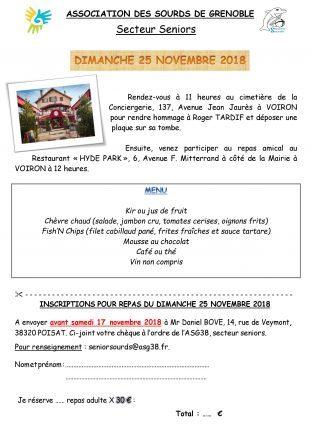 Hommage et Restaurant le 25 Novembre (Secteur Seniors)