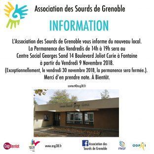 INFO : ATTENTION NOUVEAU LOCAL ASG à Fontaine