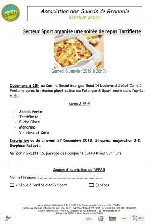 Repas Tartiflette (Secteur Sport) Samedi 5 janvier