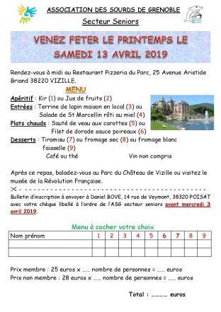 Fête de Printemps le 13 Avril (Secteur Seniors) (Restaurant + Inscription)