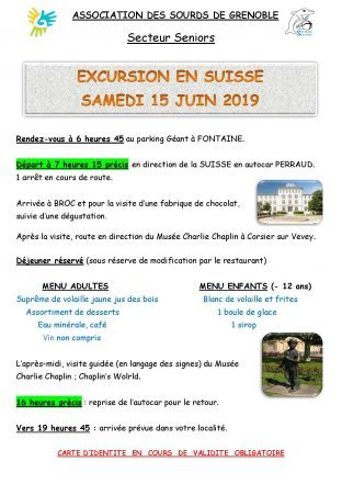 Excursion en Suisse le 15 juin (Secteur Seniors)