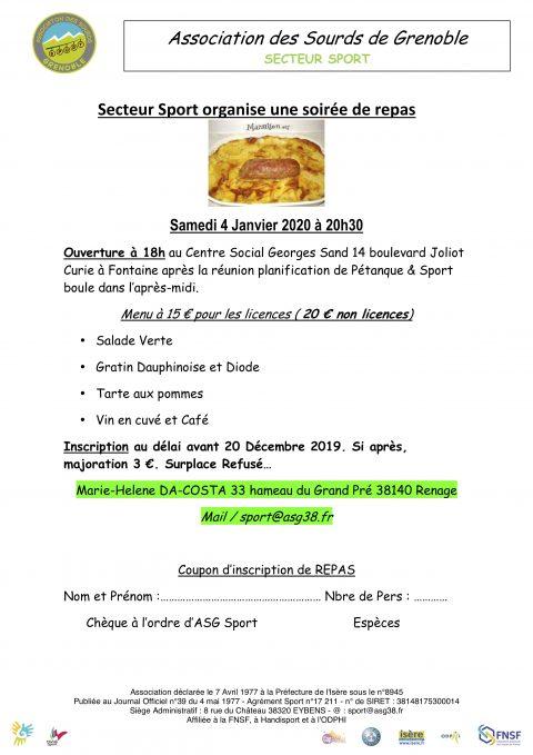 Secteur Sport organise une soirée de repas du 4 Janvier 2020 à 20h30