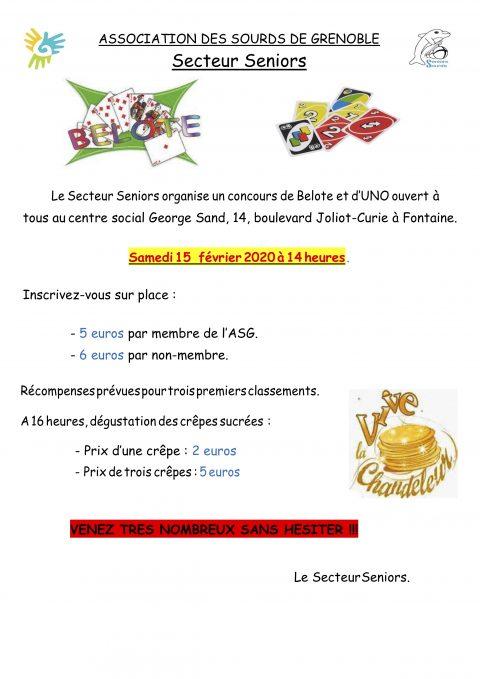 Secteur seniors: concours de Belote et d'Uno – 15 Février 2020