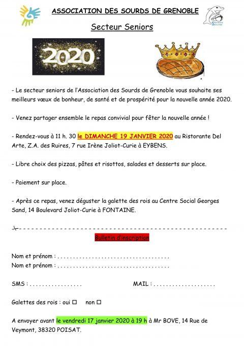 Secteur Seniors: repas convivial pour la nouvelle année 2020 : 19 Janvier 2020